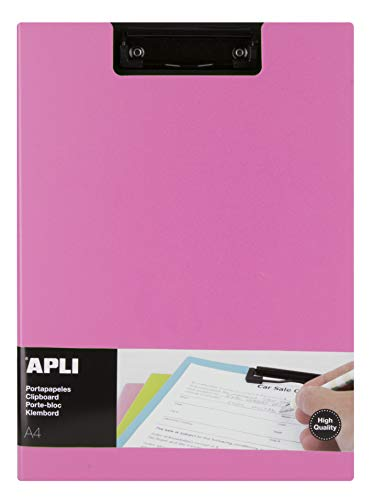 APLI 17208 - Clipboard con solapa premium rosa A4