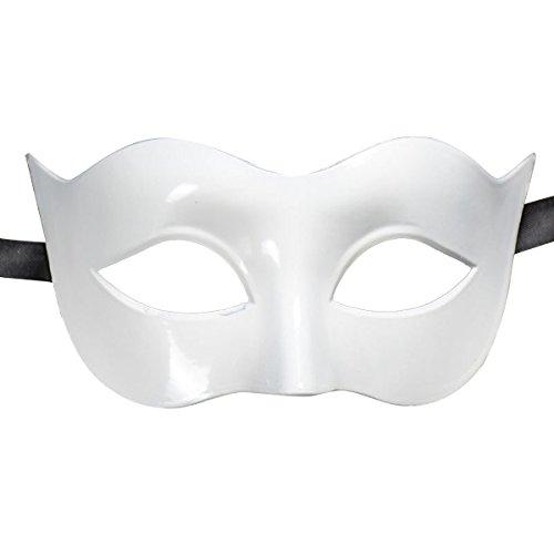 OULII Maskerade Maske Männer Ball Party Halloween Karneval Kostüm halbe Gesicht Maske (Weiß)