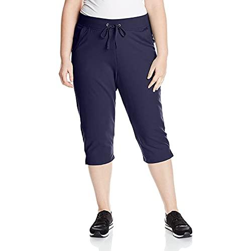 FMYONF Medias capri de cintura alta opacas para mujer en tallas grandes, marine, XXXXXL