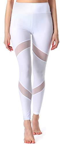 Merry Style Leggins Largos Mallas Deportivas Mujer MS10-233 (Blanco, XL)