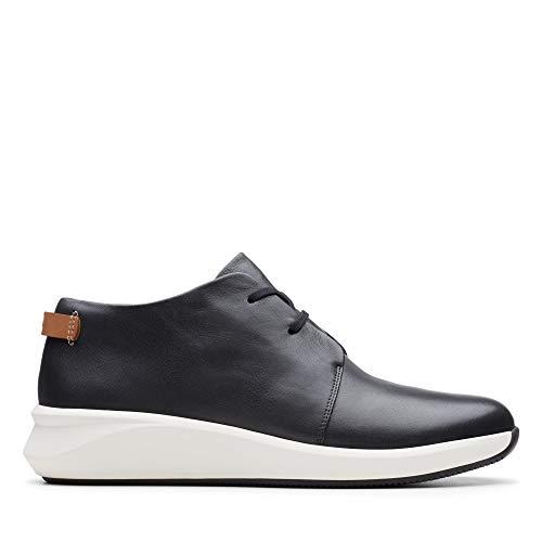 Clarks Damen Un Rio Mid Sneaker, Schwarz (Black Leather Black Leather), 41 EU