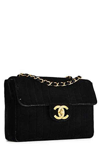 CHANEL Black Velvet Vertical Flap Jumbo (Renewed)