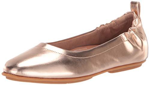 FitFlop Women's Allegro Metallic Ballerinas Ballet Flat, Rose Gold, 5 M US