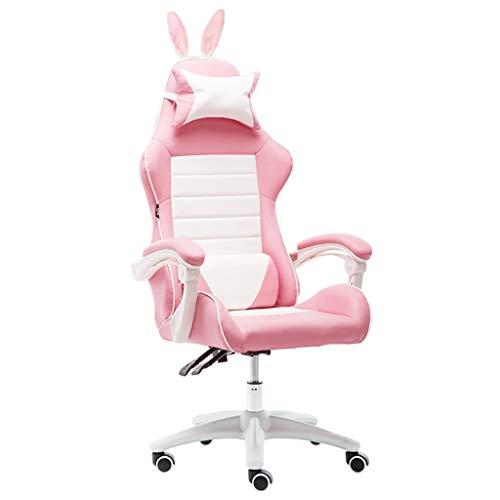 Stühle Büromöbel Rosa Mädchen Adult Game Computer Unternehmen Mitarbeiter Ergonomischer Bürostuhl, Ledersessel mit kleinen Ohren Schreibtischstühle (Color : Pink(A), Size : 65 * 65 * 128cm)