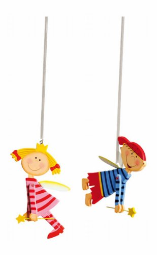 Small Foot by Legler 5108 Jumper Tim und Laura im 2er Set, süße Kinderzimmerdeko im bunten Design, schweben sanft und wachen über ihre kleinen Schützlinge