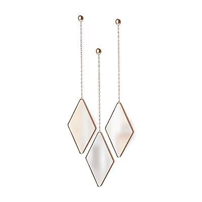 Umbra Dima Mirrors, Set of 3, Trio of Decorative Mirrors for Wall Decor, Apartment Décor/Wall Art, Copper