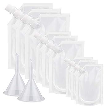 Alcoon 11 Pieces Plastic Liquor Flask Concealable and Reusable Plastic Drinking Flasks Liquor Pouches 3x34oz 3x14oz 3x8oz with Plastic Funnel