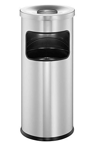 Durable 333223 Papierkorb Metall mit Ascher Safe, selbstlöschender Standaschenbecher mit 17l Mülleimer und 2l Ascher, silber