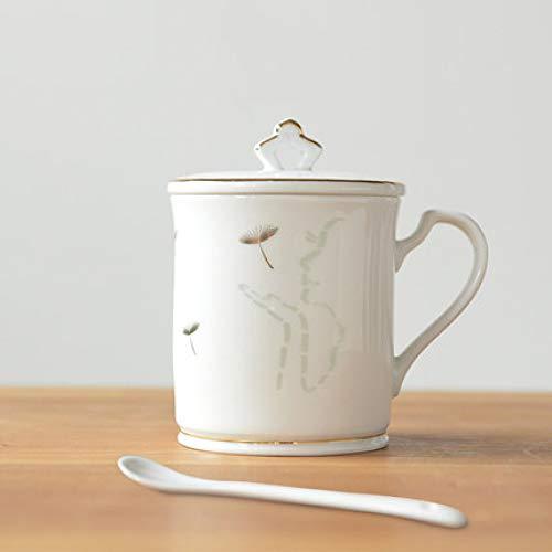 Taza Hotel Cafe Hombres y Mujeres Cerámica de Alto Grado 300 ml Exquisita Taza de té de cerámica Taza con Tapa Cuchara Taza Simple Taza de café de Lujo Taza de Pareja B 300 ml