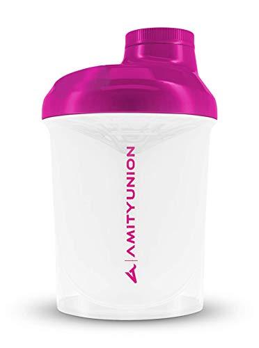 Shaker per proteine da donna 400 ml Deluxe a prova di perdite, Europa, 100% senza BPA con setaccio e scala per frullati di siero di latte cremosi, shaker proteico originale in rosa e bianco