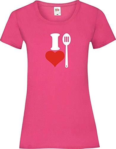 Shirtinstyle Camiseta de Mujer i Love Cuchara de Cocina Cocinar Backen - Fucsia, L