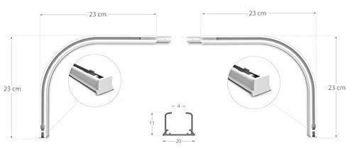 Rollmayer glänzend einläufig Gardinenschiene aus Aluminium (Rundbogen Weiß Paar) Deckenbefestigung mit SMART-klick Montage, Innenlaufschiene für Vorhänge
