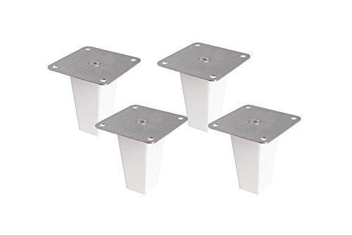 4 x Möbelfüße aus Holz für Kallax Regal Möbelbeine Regalfuß Möbelfuß/massive Buche (weiß lackiert) wasserabweisend/inkl. Montageplatte Montagematerial Anleitung/Höhe 10 cm/Pyramid