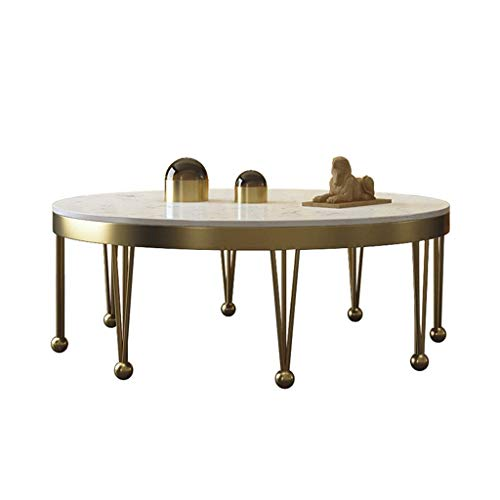 Post-Moderniving Room Coffee Table, Unique Metal Tableegs, Wide and Bright Marble Tabletop, Uxurious Atmosphere, Suitable for Villas, Star Hotels, Round, Gold, YueQiSong, 70×70×42cm
