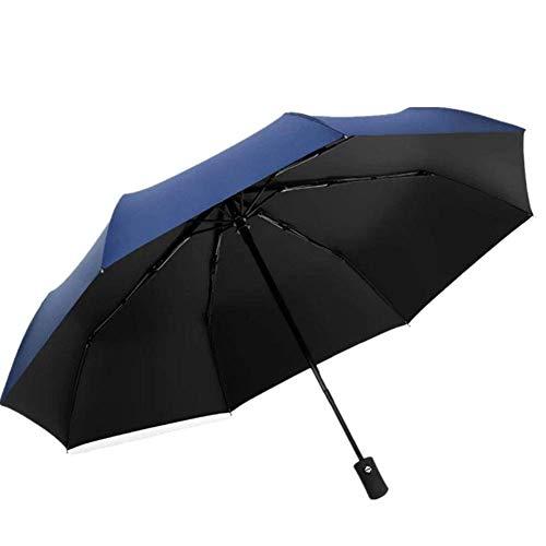 Paraguas xfse Paraguas Plegable Paraguas Automático Grande Doble A Prueba De Viento Hombres Y Mujeres Lluvia 2 con Estudiante Viaje Paraguas Azul