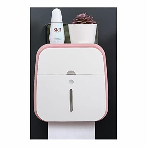 ZSP Dispensador de Toallas Contenedores de Papel para el higiénico Contenedores de Almacenamiento Moun Auto Adhesivo Sin perforación Impermeable (Tamaño: 20,5 cm, Material : ABS + PC) (Color : Pink)