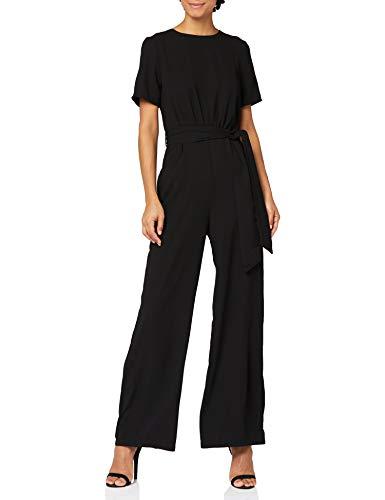 Marchio Amazon - find. Short Sleeve Tie Waist Tuta Intera Donna, Nero (Black), 40, Label: XS