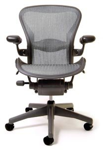 Aeron Chair by Herman Miller - Official Retailer - Highly Adjustable - Graphite Frame - Lumbar Pad - Nickel Classic (Medium)