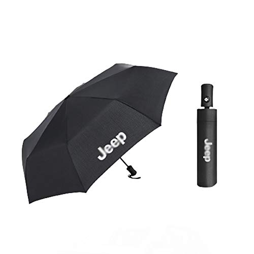 XCBW Automatischer Auto Open Faltschirm, Auto-Logo Automatischer Business-Regenschirm für J-eep Large Umbrella