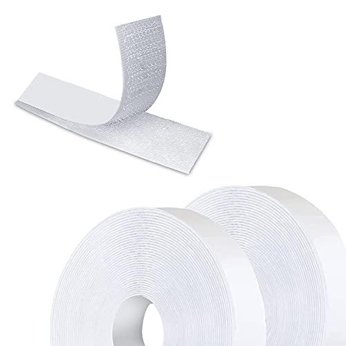 Qiaonato Klettband Selbstklebend, 10M Selbstklebendes Doppelseitig Klebende mit Klettverschluss 20mm Breit Klebepad Flauschband und Hakenband für Wände und Boden, Tür,...