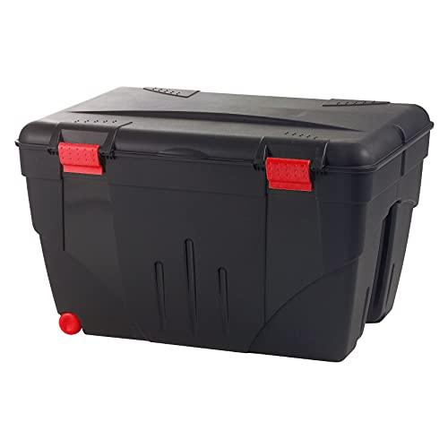 Boite à outils - Caisse de rangement avec couvercle + roulettes Malle Trafic 200 L Rouge / Noir