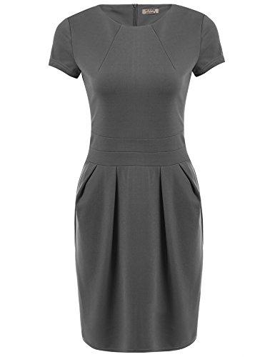 ACEVOG Women's Official Wear to Work Retro Business Bodycon Pencil Dress,Grey,M