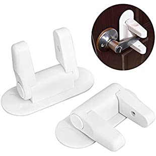 Baby Safety Locks, Umiwe 2Pcs Adjustable Child Saftey Lock Door Handle with 3M Adhesive Easy to Install/Disassemble Creative Lever Door Lock for Child Proof Doors & Handles:Viralinfo