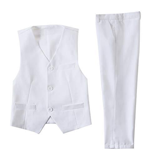NaineLa Boys White Suit Set 2 Piece with Dress Vest and Pants Boy Formal Suits Size 2T