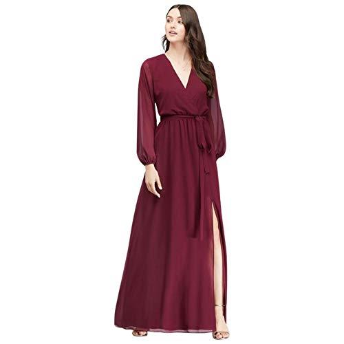 David's Bridal Long Sleeve Chiffon Faux-Wrap Bridesmaid Dress Style W60041, Merlot, 8