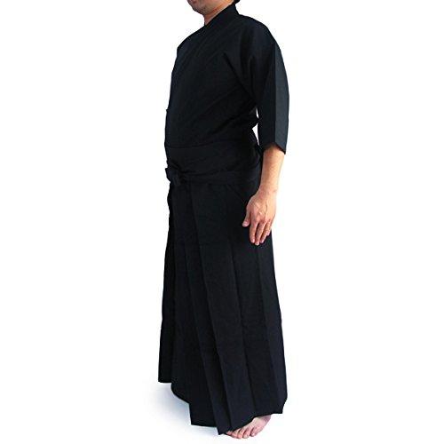 【居合道着】徳用居合道衣・袴黒セット (上衣1号(145〜155cm)・袴20号(前紐下〜裾76cm))