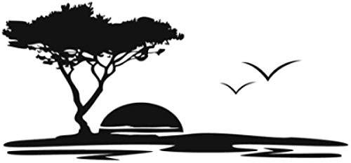 LISM Adhesivo de pared de vinilo extraíble con árboles grandes Sea Sunset...