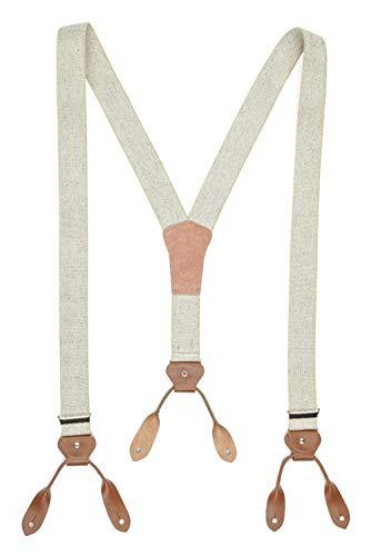 Westernwear Vintage Style Hosenträger mit Lederlaschen beige Oldstyle Westernkleidung, Old Style Hosenträger, Old Style Grandpa Style Kleidung Vintage Beige