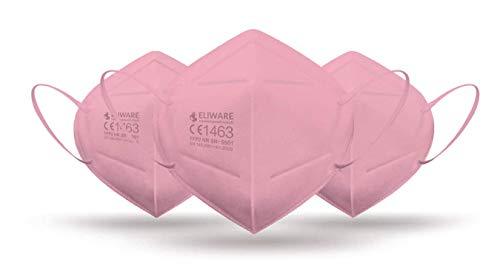 CE zertifizierte - nach EN149:2001+A1:2009 geprüfte Einweg FFP2 NR Atemschutzmaske - Pink - 5er Packung