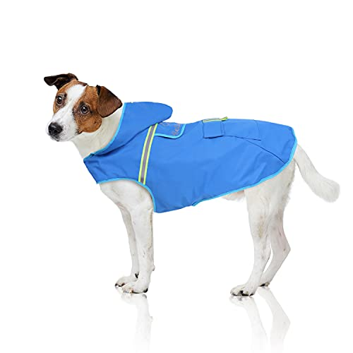 Bella & Balu Chubasquero de perro - Impermeable para mascotas con capucha y reflectores para proteger a su perro en paseos largos del frío, la lluvia o la nieve en épocas frías. (XS   Azul)