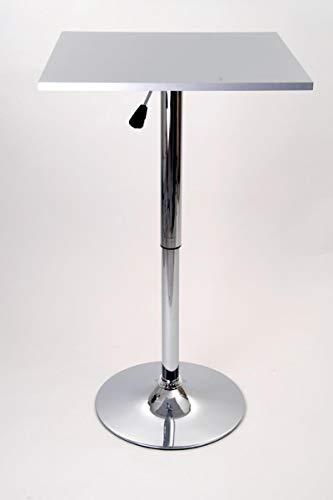 Bistro-Tisch, silber, quadratisch Tischplatte aus Holz, höhenverstellbar, drehbar, 84-104 cm,