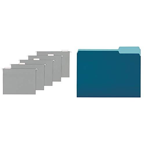 AmazonBasics Hanging Folders, Letter Size, Gray, 25-Pack & File Folders, Letter Size, 1/3 Cut Tab, Teal, 36-Pack