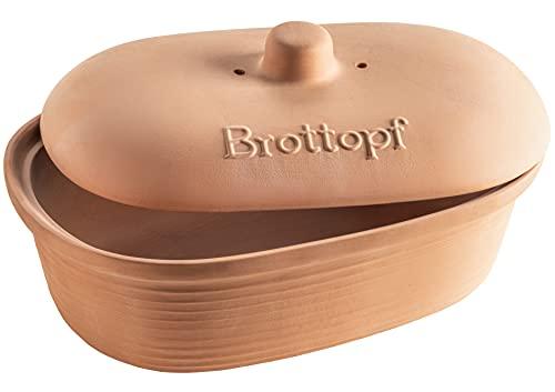MÄSER 931996 Serie Ceramica Brottopf oval aus Naturton - Praktische Brotaufbewahrung - Brotbehälter mit Griff am Deckel - Brotkasten Ton unglasiert - atmungsaktiver Tontopf für Brot, Keramik, 6 liters