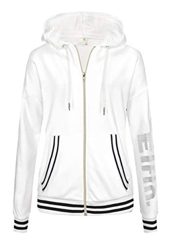 ELFIN Sudadera con capucha para mujer, de manga larga, con cremallera, con bolsillos, para otoño e invierno Blanco S