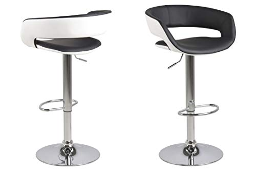 AC Design Furniture Sgabello in finta pelle, con poggiapiedi, 2 pezzi, Bianco, finta pelle