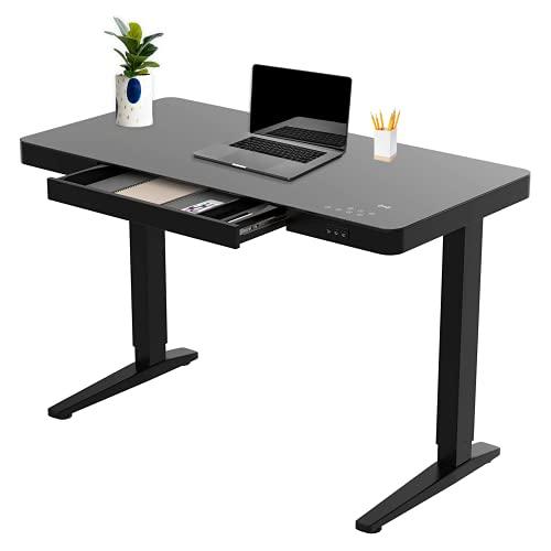 bonmedico Movu höhenverstellbarer Schreibtisch elektrisch 120x60 - Ergonomischer Stehschreibtisch schwarz - Induktive Ladestation, Touch Funktion, USB
