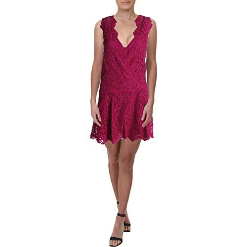 Free People Womens Heart in Two L Lace Mini Dress Purple S