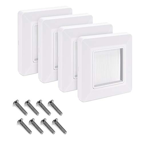kwmobile Flush Brush Wall Plate - 4X Single Gang Flush Wall Mounted Brush Faceplate to Cover Outlets, Sockets and Tidy Up Wires and Cables - White
