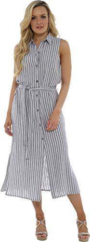 CityComfort dames zomer linnen mouwloze lange hemdjurk | knoop door tuniek met bijpassende riem | Petite tot Plus jurken maat damesmode beschikbaar