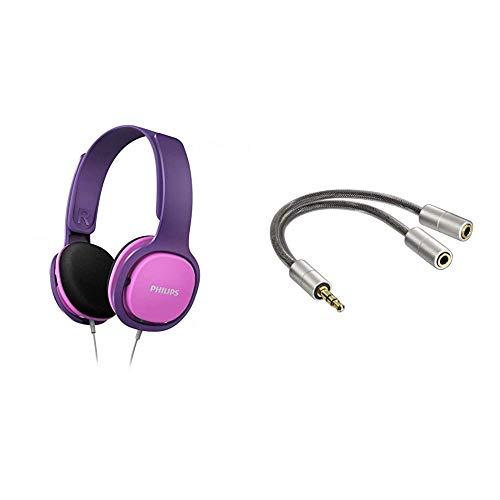 Philips Kinderkopfhörer SHK2000PK/00 Kinderkopfhörer On Ear Pink/Lila & Hama Kopfhörer-Adapter AluLine (3,5 mm Klinkenstecker - 2 x 3,5 mm Klinkenkupplung) Stereo, 15 cm, Silber