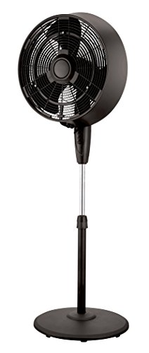 PELONIS FS45-9L 18' Black 3-Speed Oscillating Misting Pedestal Fan,