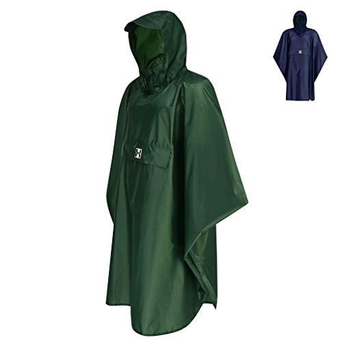 HOCK Regenponcho Extra Lang mit Kapuze - 100{1ae8147dd5db8c8f45afd31c43db49f6206280c041eacacefe782920a79b8f62} Wasserdicht - Leichter Regenmantel Wandern für Damen & Herren - Regencape (grün, S/M)