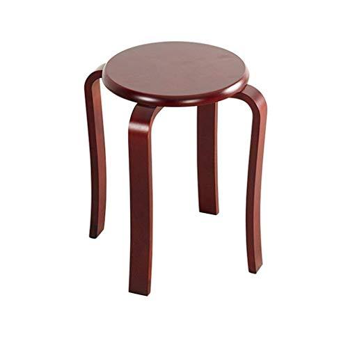 JIAXU Reposapiés y otomanos taburetes taburete de cocina silla de comedor taburete redondo silla de madera retro 4 patas taburete de maquillaje taburete de lino cojín asiento