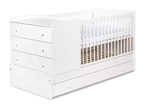 Naka24 Kompakt Kinderbett Jungendbett mit Rausfallschutz Kommode und Wickeltisch 4-in-1 (Weiß)