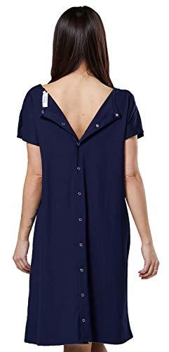 HAPPY MAMA Damen Umstands Stillen Lieferung Krankenhaus Kleid Nachthemd 538p (Marine, 38-40, S)