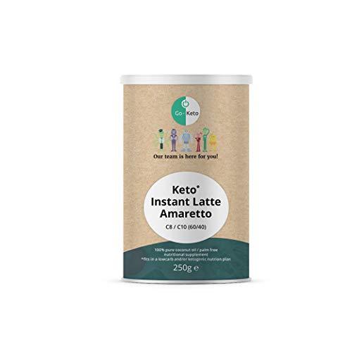 Go-Keto MCT Instant Keto Kaffee Latte – Amaretto, 250g | Premium MCT C8 C10, 100% Kokosöl palmölfrei | perfekt für die Keto Diät | gesüßt mit Stevia | Paläo, vegan, Low Carb